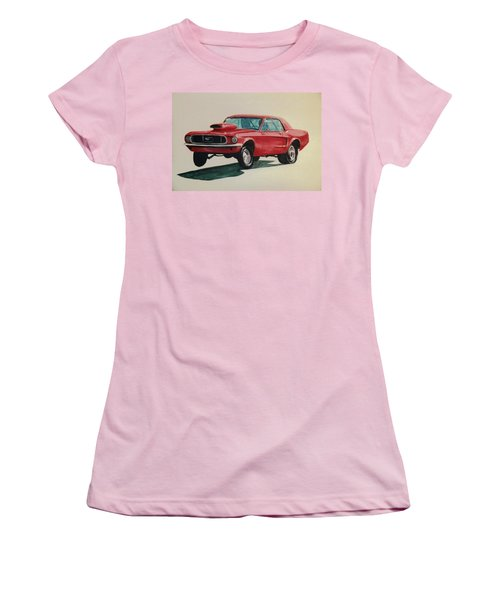 Women's T-Shirt (Junior Cut) featuring the painting Mustang Launch by Stacy C Bottoms