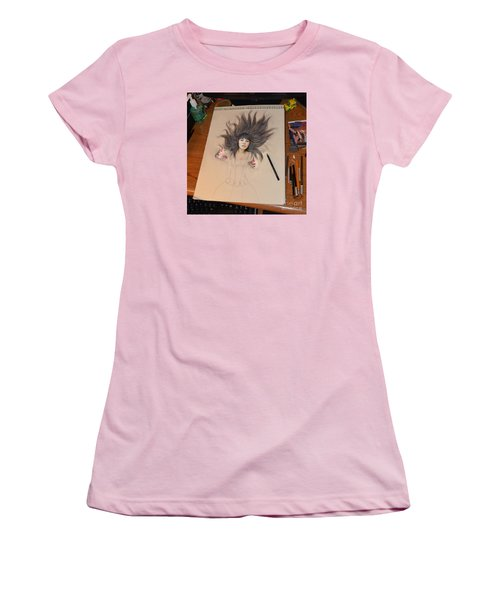 My Drawing Of A Beauty Coming Alive Women's T-Shirt (Junior Cut) by Jim Fitzpatrick