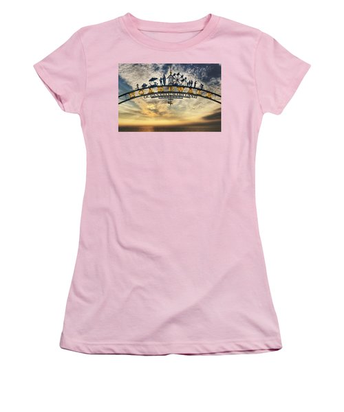 Ocean City Boardwalk Women's T-Shirt (Junior Cut) by Lori Deiter