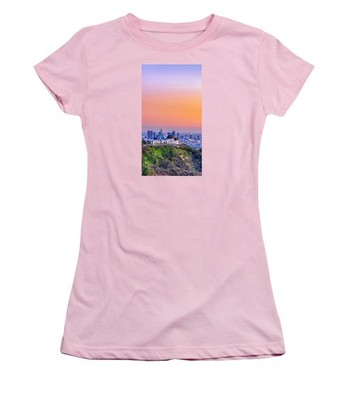 Orangesicle Griffith Observatory Women's T-Shirt (Athletic Fit)