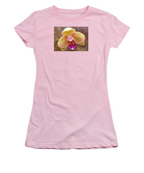 Orchid On Marble Women's T-Shirt (Junior Cut) by Barbie Corbett-Newmin
