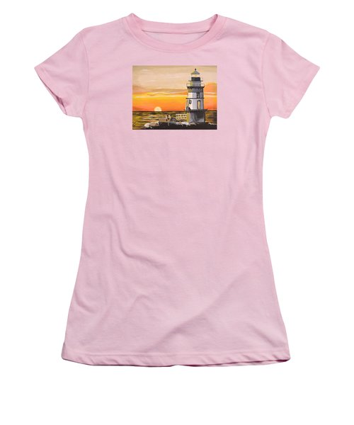 Women's T-Shirt (Junior Cut) featuring the painting Orient Point Lighthouse by Donna Blossom