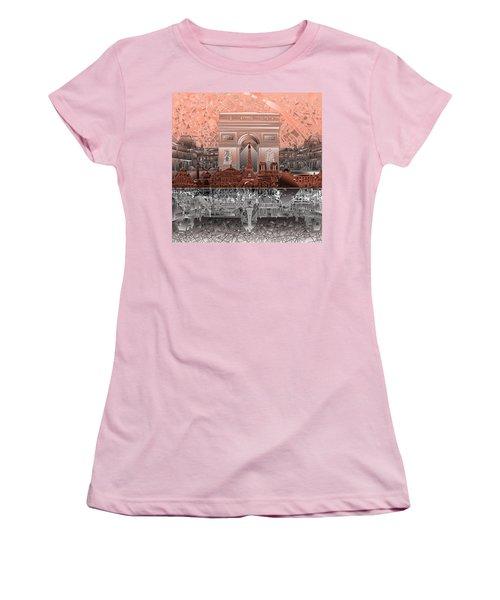 Paris Skyline Landmarks 2 Women's T-Shirt (Athletic Fit)
