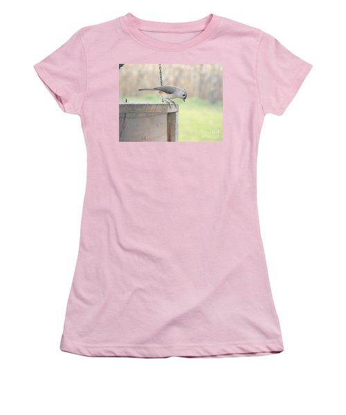 Peeking Chickadee Women's T-Shirt (Athletic Fit)