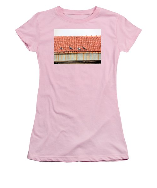 Women's T-Shirt (Junior Cut) featuring the photograph Pigeons On Roof by Aaron Martens