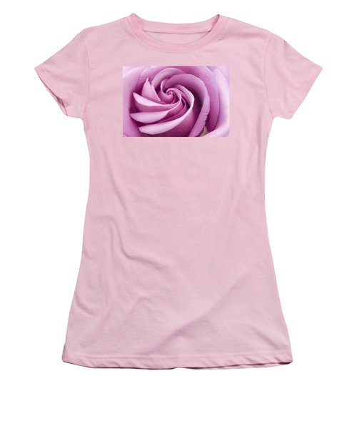 Women's T-Shirt (Junior Cut) featuring the photograph Pink Rose Folded To Perfection by Sandra Foster