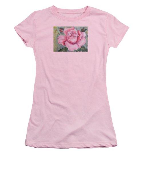 Pink Rose Women's T-Shirt (Junior Cut) by Pamela  Meredith