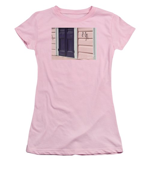 Women's T-Shirt (Junior Cut) featuring the photograph Purple Door by Valerie Reeves