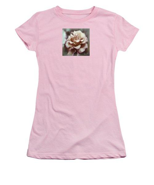 Women's T-Shirt (Junior Cut) featuring the photograph Red White Rose by Jean OKeeffe Macro Abundance Art