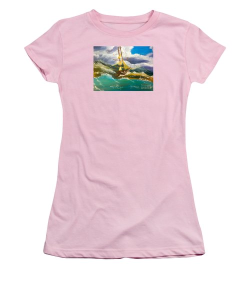 Sailing Ship In A Storm Women's T-Shirt (Athletic Fit)
