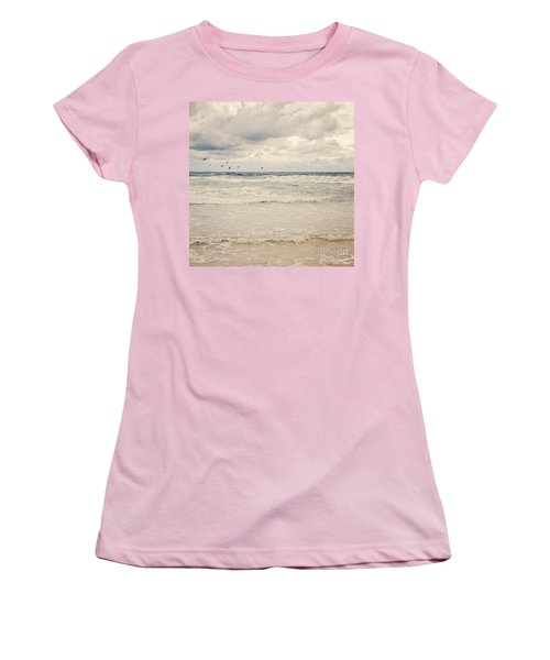 Seagulls Take Flight Over The Sea Women's T-Shirt (Athletic Fit)