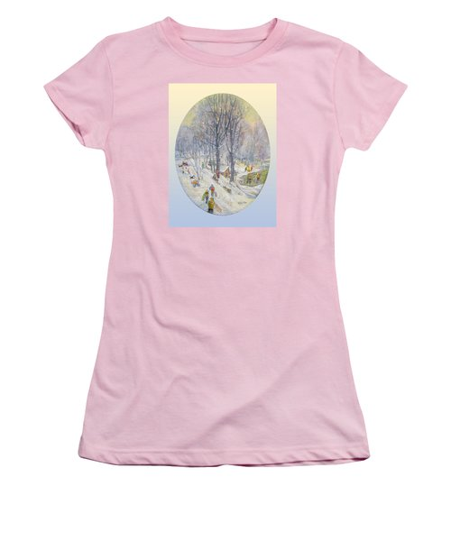 Women's T-Shirt (Junior Cut) featuring the painting Snow Day by Donna Tucker