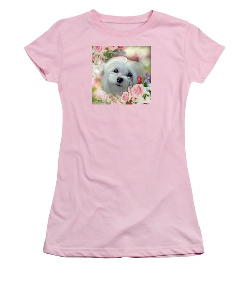 Women's T-Shirt (Junior Cut) featuring the photograph Snowdrop The Maltese by Morag Bates