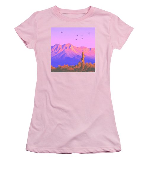 Women's T-Shirt (Junior Cut) featuring the painting Solitary Silent Sentinel by Sophia Schmierer