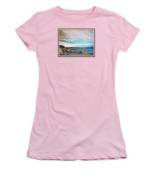 Squibby Cliffs And Mackerel Sky Women's T-Shirt (Junior Cut) by Kathy Barney
