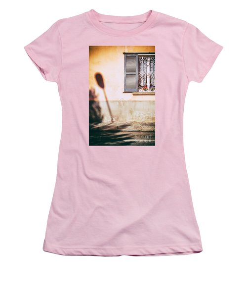 Women's T-Shirt (Junior Cut) featuring the photograph Street Lamp Shadow And Window by Silvia Ganora