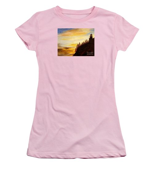 Women's T-Shirt (Junior Cut) featuring the painting Sunset At Bass Harbor by Lee Piper