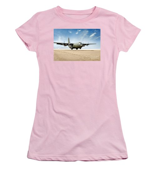 Test Landing By A C-130 Mk3 Hercules Transport Aircraft Women's T-Shirt (Athletic Fit)
