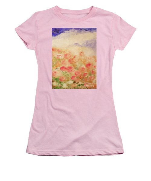 Women's T-Shirt (Athletic Fit) featuring the painting The Rose Bush by Laurie L