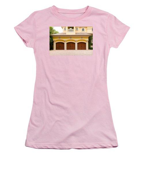 Triple Garage Doors Women's T-Shirt (Junior Cut) by Les Palenik