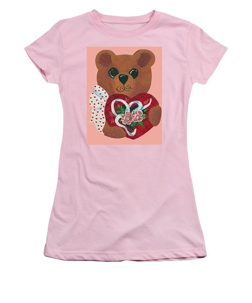 Women's T-Shirt (Junior Cut) featuring the painting Valentine Hug by Barbara McDevitt