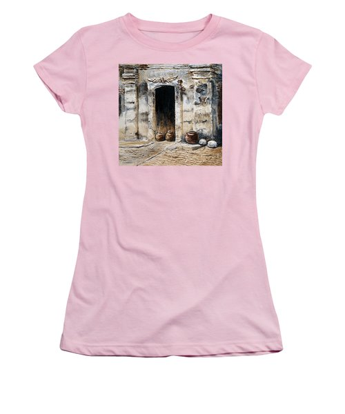 Women's T-Shirt (Junior Cut) featuring the painting Vigan Door by Joey Agbayani
