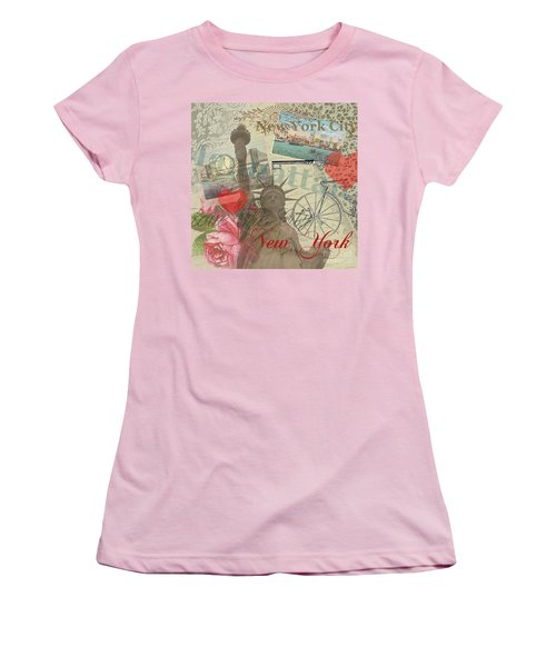Vintage New York City Collage Women's T-Shirt (Athletic Fit)