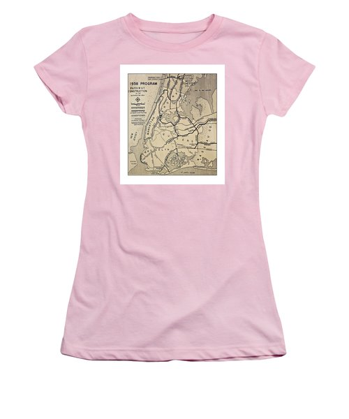 Vintage Newspaper Map Women's T-Shirt (Athletic Fit)