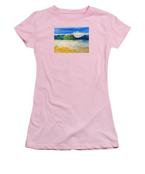 Watching The Wave As Come On The Beach Women's T-Shirt (Junior Cut) by Pamela  Meredith