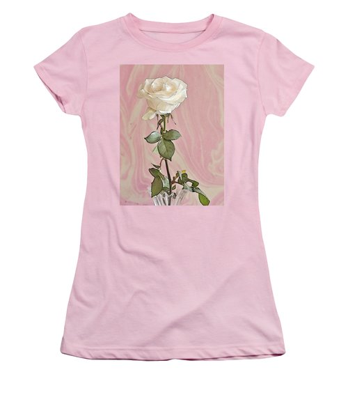 Women's T-Shirt (Junior Cut) featuring the photograph White Long Stemmed Rose by Sandra Foster
