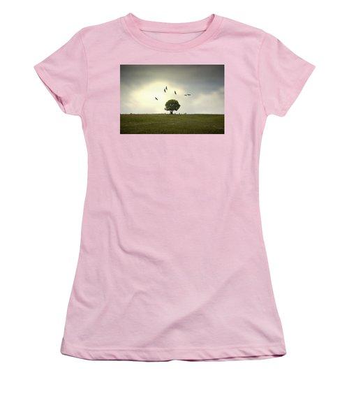 Wings Over The Tree Women's T-Shirt (Junior Cut) by Alfio Finocchiaro