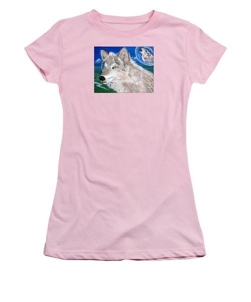 Women's T-Shirt (Junior Cut) featuring the painting Wolves by Phyllis Kaltenbach