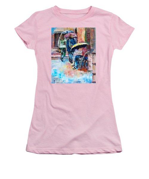 Yellow Umbrella Women's T-Shirt (Junior Cut) by Janet Garcia