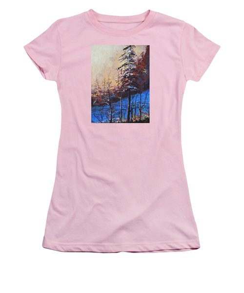 Women's T-Shirt (Junior Cut) featuring the painting Autumn Silence by Dan Whittemore