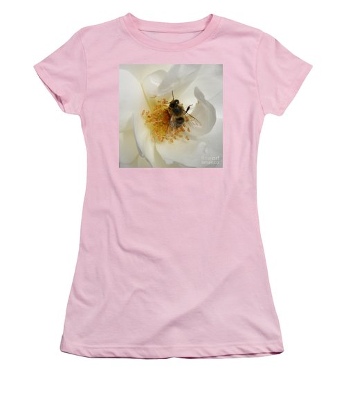 Women's T-Shirt (Junior Cut) featuring the photograph Bee In A White Rose by Lainie Wrightson