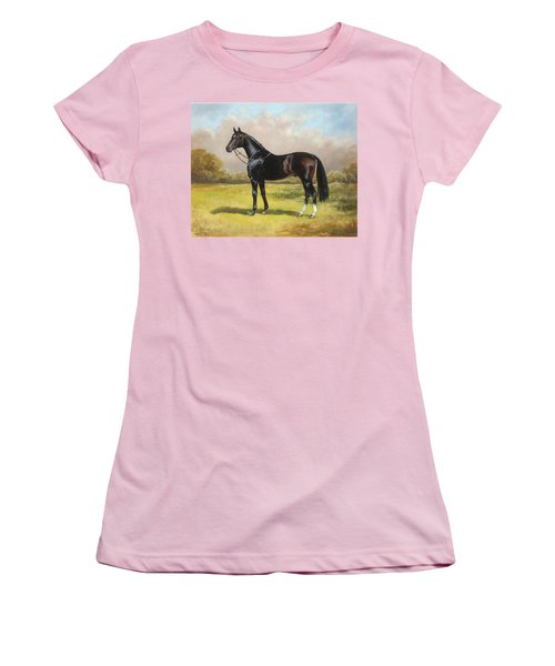 Black English Horse Women's T-Shirt (Athletic Fit)