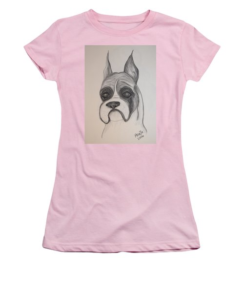 Women's T-Shirt (Junior Cut) featuring the drawing Boxer by Maria Urso