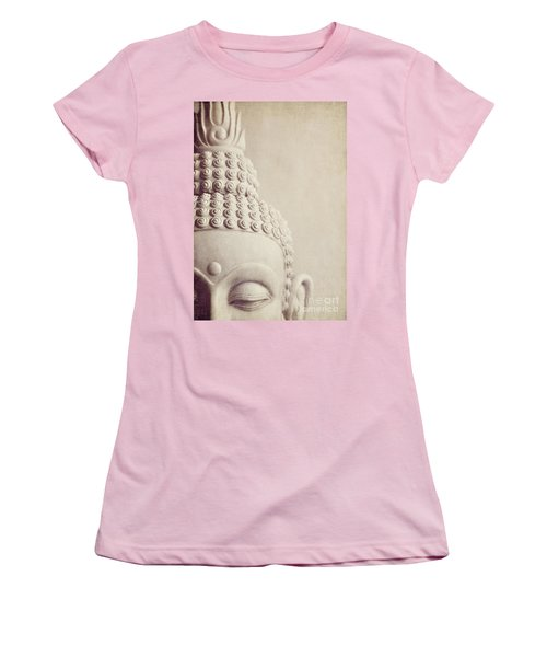 Cropped Stone Buddha Head Statue Women's T-Shirt (Junior Cut) by Lyn Randle