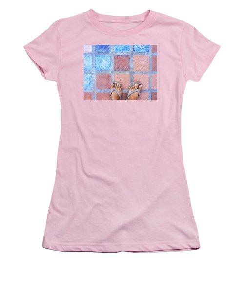 Cross-legged On A Colorful Sidewalk Women's T-Shirt (Junior Cut) by Anne Mott