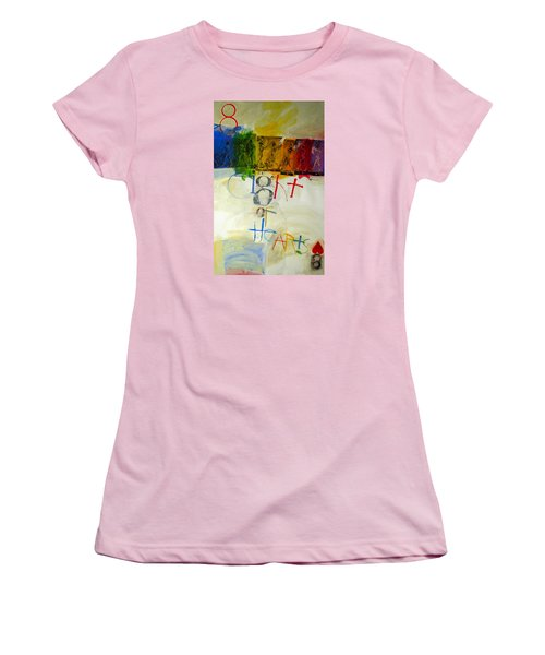 Women's T-Shirt (Junior Cut) featuring the painting Eight Of Hearts 34-52 by Cliff Spohn