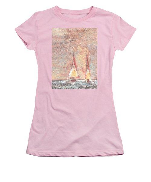 Golden Sails Women's T-Shirt (Junior Cut) by Richard James Digance