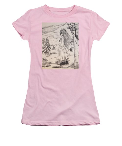 Women's T-Shirt (Junior Cut) featuring the drawing Halloween Witch Walk by Maria Urso