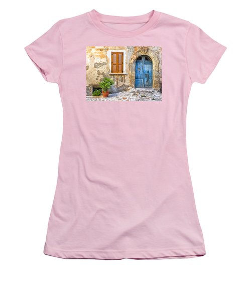 Mediterranean Door Window And Vase Women's T-Shirt (Junior Cut)