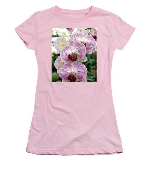 Women's T-Shirt (Junior Cut) featuring the photograph Purple Orchids by Debbie Hart