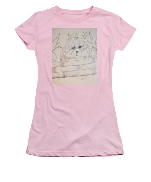 Women's T-Shirt (Junior Cut) featuring the drawing Spaniel Pup by Maria Urso