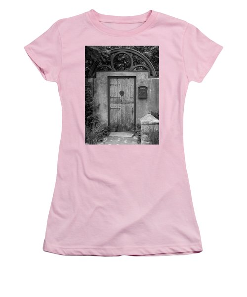 Spanish Renaissance Courtyard Door Women's T-Shirt (Junior Cut) by Judy Wanamaker