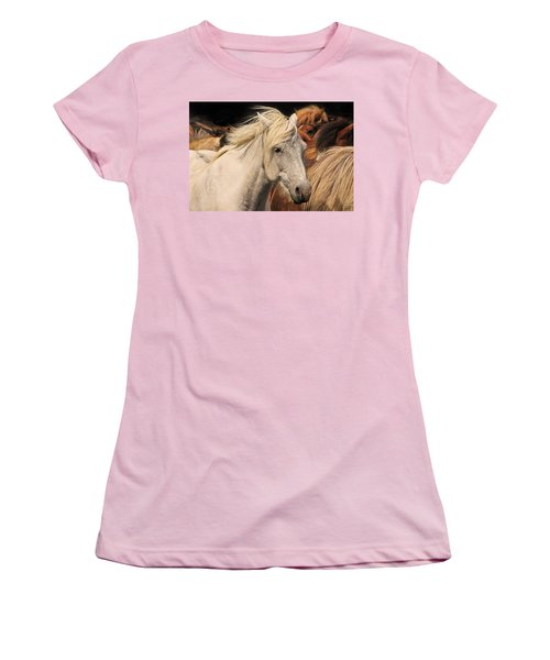 White Icelandic Horse Women's T-Shirt (Athletic Fit)
