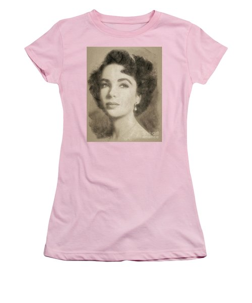 Elizabeth Taylor Hollywood Actress Women's T-Shirt (Junior Cut) by John Springfield
