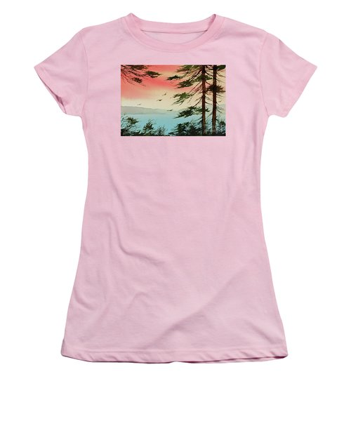 Women's T-Shirt (Junior Cut) featuring the painting Evening Light by James Williamson