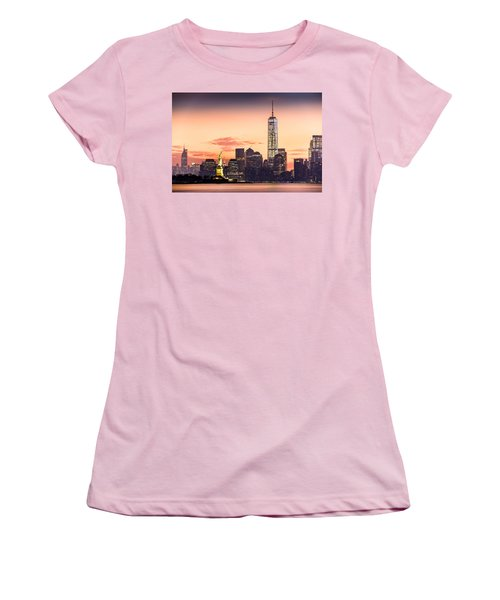 Lower Manhattan And The Statue Of Liberty At Sunrise Women's T-Shirt (Junior Cut) by Mihai Andritoiu